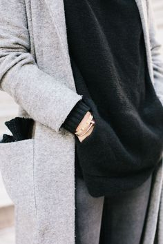Grey coat with black sweater. Comfy winter outfit.