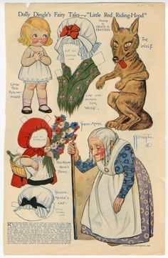"Dolly Dingle's Fairy Tales-""Little Red Riding Hood  paper doll  1921  Artist	:  Grace G. Drayton"