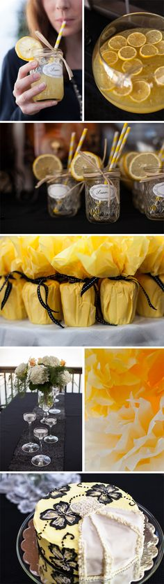 lemon yellow black bridal or baby shower---from letters from LaLa blog