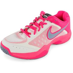 NIKE Women`s Air Cage Court Tennis Shoes Ivory and Hyper Pink (£57) ❤ liked on Polyvore featuring shoes, cage shoes, nike footwear, tennis shoes, pink shoes and winter white shoes