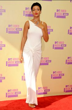 Rihanna photographed on the red carpet at the 2012 MTV Video Music Awards in Los Angeles.   MTV Photo Gallery