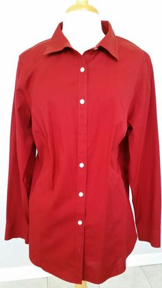 TALBOTS WOMAN Burgundy Stretch Cotton Wrinkle Resistant Career Blouse 18W NWOT  #Talbots #Blouse #Career