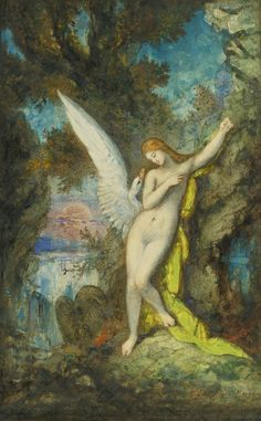 "Gustave Moreau ""Leda et le Cygne (Leda and the Swan)"" Art Print by Alexandra_Arts - X-Small Gustav Klimt, Old Master, Greek Mythology, Gouache, Art History, Modern Art, Watercolor, Fine Art, Artwork"