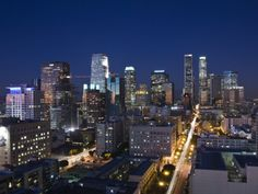California, Los Angeles, Aerial View of Downtown from West 11th Street, Dusk, USA Photographic Print by Walter Bibikow at AllPosters.com