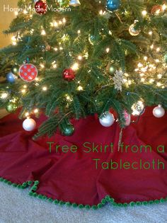 Tree Skirt from a Tablecloth.Seeing how I can't seem to find a vintage/glamour style b/w skirt; I am just going to have to make one! Holiday Tree, Holiday Crafts, All Things Christmas, Christmas Crafts, Merry Christmas, Christmas Ideas, Tree Decorations, Christmas Decorations, Holiday Decorating