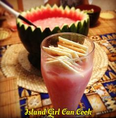 Watermelon Juice (Otai) with plain Crackers! This is a Tongan treat! Love it