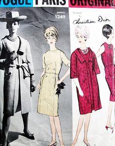 1960s DIOR Elegance Slim Dress and Coat Pattern VOGUE Paris Original 1249 Day or Cocktail Evening Bust 31 Vintage Sewing Pattern
