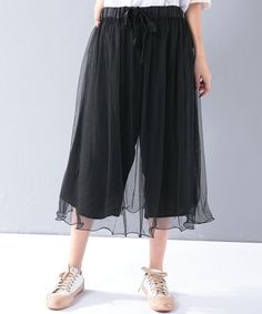 Girlish Double-Layered Black Trousers Summer Loose Pants    #loose #layered #pants #trousers #amazing #woman #summer #bottoms