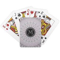 Mauve Silver Mandala Monogram Playing Cards - monogram gifts unique design style monogrammed diy cyo customize