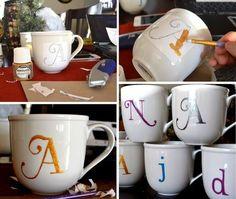 DIY monogrammed coffee mugs!