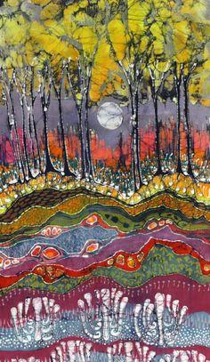 Moonlight over Spring - Original Batik Painting - reserved for Robin