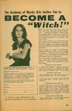 Become a Witch vintage advertisement. Why, thank you, I think I will! Vintage Humor, Vintage Stuff, Funny Vintage Ads, Weird Vintage, Funny Ads, Vintage Labels, Story Starter, Starter Kit, Maleficarum