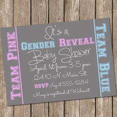 Gender Reveal Baby Shower Invitation Baby Reveal Invite Printable Personalized 120115-J1-2A