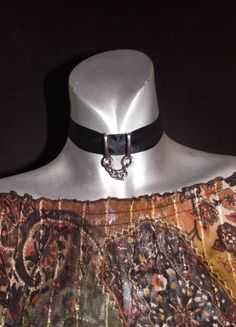 Black Colar Ribbon choker with chain by MaryLooGifts on Etsy