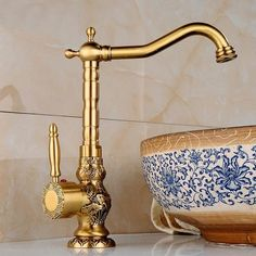 Antique Byzantium Brass Faucet for Bathroom Vanity & Vessel Sink., Antique Byzantium Brass Faucet for Bathroom Vanity & Vessel Sink, Bathroom Sink. Antique Brass Bathroom Faucet, Brass Bathroom Fixtures, Vessel Sink Bathroom, Gold Bathroom, Kitchen Faucets, Bathroom Ideas, Bathroom Vanities, Bathroom Inspiration, 1920s Bathroom