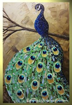 Peacock palette knife painting by Christine Krainock - I'm working on a watercolor painting of a peacock and I'm totally jelly of how good this one is