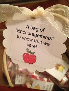 "Positive sayings on bags of mints = ""Encouragemints"""
