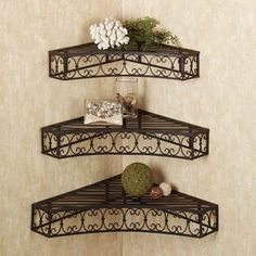 Tuscan Wrought Iron Metal Corner Wall Shelves Set of 3 Cheap-Chic Decor Tuscan Style Homes, Tuscan House, Corner Wall Shelves, Wall Shelves Design, Tuscan Home Decorating, Decorating Ideas, Decor Ideas, Style Toscan, Tuscan Design