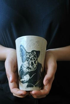 Check out this item in my Etsy shop https://www.etsy.com/il-en/listing/257671253/custom-pet-portrait-cup-dog-catceramic