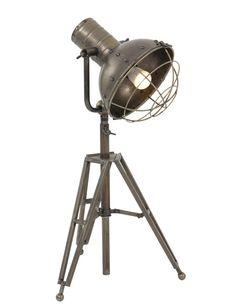 Stoere driepoot tafellamp Light&Living Ryan antiek staal