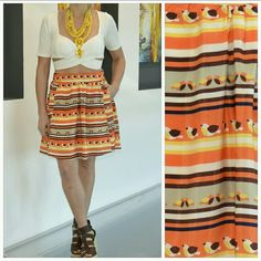 """Fun n' Flirty skirt  S/S 2016 NWOT Grab this fun and playful skirt for your spring/summer wardrobe! So cute with little birds flying all over. Colors are tan,brown, orange, yellow and cream Cute pockets in the front, perfect to hide you cell phone or money in. Pair this cutie with a t-shirt, statement necklace and blazer or denim jacket and you are off, looking fabulous!!  Size large Brand new, no tags. 100%polyester Length 18""""  Cream lining pockets in front  Side zipper. Available small and…"""