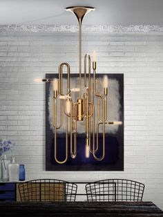 How lamp can give light to a house? Perfect Suspension Lamp exemple :D Deco Luminaire, Luminaire Design, Blitz Design, Mid Century Chandelier, Gold Chandelier, Chandelier Lighting, Kitchen Chandelier, Mid Century Modern Lighting, Suspension Design
