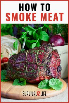 Smoking meat is typically combined with salt-curing or drying to extend the life of the meat as long as possible. Smoking removes moisture from the meat which results in a longer shelf life. Smoking and drying meat is a very efficient way to ensure you have food in the wild or in the case of a food shortage. #smokingmeat #saltcuring #dryingmeat #smokedmeat #survivallife Food Storage Organization, Food Storage Containers, Survival Life, Survival Skills, A Food, Good Food, Long Term Food Storage, Smoking Meat, Shelf Life