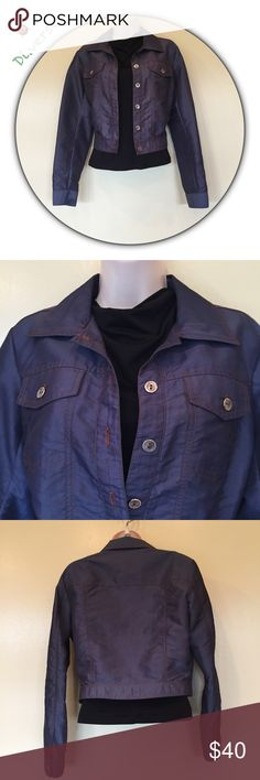 """Anna Sui blue nylon jacket orange stitching size 4 Beautiful lightweight jacket silver buttons. Measurements: Shoulders 16"""", Chest p to p 38"""", Length back top collar to hem 18.5"""", Sleeve end of shoulder to end of sleeve 24"""". Anna Sui Jackets & Coats"""