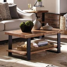 Coffee Table With Shelf, Solid Wood Coffee Table, Coffe Table, Coffee Table Design, Rustic Coffee Tables, Best Coffee Tables, Diy Coffee Table Plans, Coffee Counter, Simple Coffee Table