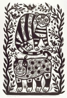 Barbara Hanrahan (Australia 06 Dec 1939–Dec 1991) - Cat and dog, from the portfolio Twelve linocuts, a suite of prints, 1990