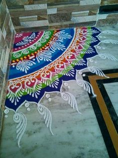 Yashashri choudhri rangoli Rangoli Designs Latest, Rangoli Designs Flower, Rangoli Border Designs, Colorful Rangoli Designs, Rangoli Designs Images, Rangoli Designs Diwali, Diwali Rangoli, Diwali Craft, Beautiful Rangoli Designs