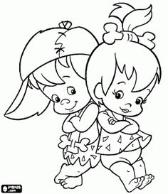 Pebbles and Bam Bam Coloring Pages | ... beautiful babies Pebbles Flintstone and Bam Bam Rubble coloring page