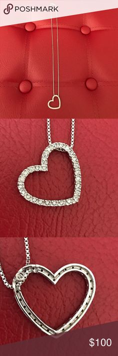 NADRI Floating Heart CZ Diamond Necklace NADRI Floating Heart CZ Diamond Necklace. CZ diamonds completely surrounding heart and the famous N logo on the back and Nadri on the clasp closure~ never worn Nadri Jewelry Necklaces