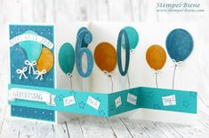 Pop up card birthday; Z card birthday; StampinUp so many years; 60th Birthday Cards, Mom Birthday Gift, Birthday Greeting Cards, Birthday Invitations, Birthday Parties, Fancy Fold Cards, Folded Cards, Card Sketches, Birthday Balloons