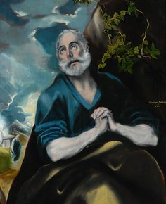 Peter in Penitence, El Greco Size: cm Medium: oil, canvas Spanish Painters, Spanish Artists, Oil Canvas, Canvas Art, Canvas Size, Religious Paintings, Creta, Free Art Prints, Oil Painting Reproductions
