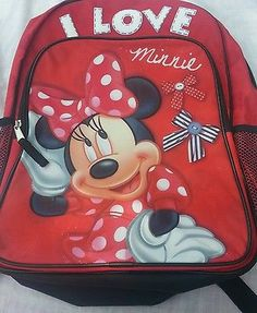 Disney-Minnie-Mouse-Backpack-I-Love-Minnie-Red-16-Large-Girls-School-Book-Bag