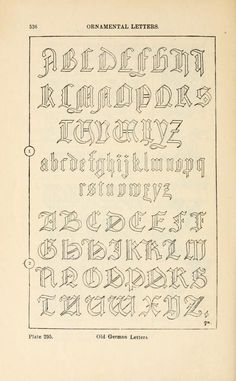 A handbook of ornament; ornamental letters old german letters pg 536 Chicano Lettering, Graffiti Lettering Fonts, Tattoo Lettering Fonts, Hand Lettering Alphabet, Cursive Letters, Creative Lettering, Calligraphy Letters, Typography Letters, German Font
