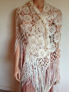 70s White Crochet Heavy Knit Fringe Shawl with by ShopLVintage, $24.00