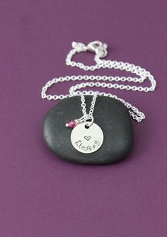 Personalized Little Girls Heart Necklace – DII - Valentines Day Gift – Handstamped Handmade Jewelry – 5/8 Inch 15MM Silver Disc – Choose Birthstone Color–Customize Name–Fast 1 Day Shipping >>> Additional details at the pin image, click it  : Handmade Gifts