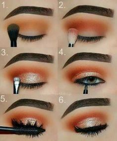 Makeup Tutorial: Orange and Gold Glam Eye Make-up Step for .- Makeup-Tutorial: Orange und Gold Glam Eye Make-up Schritt für Schritt Tutorial Makeup Tutorial: Orange and Gold Glam Eye Makeup Step by Step Tutorial, …, up - Eye Makeup Remover, Skin Makeup, Eyeshadow Makeup, Beauty Makeup, Huda Beauty, Eyeshadows, Makeup Tips, Beauty Tips, Drugstore Beauty