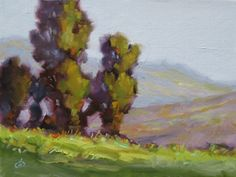 12x16 IMPRESSIONIST LANDSCAPE, TREES, MOUNTAINS by TOM BROWN MAKE ME AN OFFER, painting by artist Tom Brown
