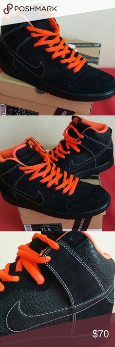 Nike SB Dunk High PRO Blk Atomic Red SIZE 11.5 MEN Shoes is worn ONLY 4 TIMES and in mint shape and condition. Its flawless and rated 9.6/10..showing just a minimal sign of use insole. Guaranteed to be 100% authentic nike merchandise...Shoes is coming in original box plus alternate lace. Nike Shoes Sneakers