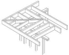 Roof Framing detail showing primary joist direction [to form front cantilever]. A ladder-style extended joist system to form the side overhang. NB: Last full primary joist should be doubled-up to accommodate the increased loading characteristic. Flat Roof Design, House Roof Design, Flat Roof Shed, Flat Roof House, Flat Roof Construction, Bbq Shed, Barn Style Shed, Sauna Design, Roof Coating