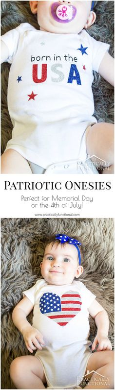 These patriotic of July onesies are too cute, and perfect for celebrating Memorial Day or the of July! Easy Craft Projects, Easy Diy Crafts, Silhouette Projects, Silhouette Cameo, Usa Shirt, Patriotic Crafts, Vinyl Crafts, Trends, Vinyl Designs
