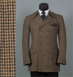 Late 1960s Mod 8 Button Double Breasted Houndstooth Tweed Wool Mens Vintage Blazer 42 44 on Etsy, $125.00