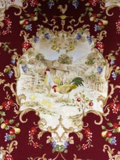 PC189 Rooster Chicken Country French Toile Hasegawa Cotton Fabric Quilt Fabric
