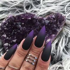 The trend of matte nail art designs have been rising in recent years. You can use matte nail art designs to enhance your temperament and taste and make you look beautiful and gorgeous. Ombre nail art designs make women look very attractive. They lo Matte Nail Art, Stiletto Nail Art, Black Nail Art, Nail Nail, Stiletto Nail Designs, Purple Stiletto Nails, Black And Purple Nails, Black Ombre Nails, Pink Nails