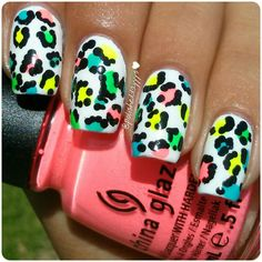 "Colorful neon leopard nails ♥used ""Flip Flop Fantasy"" for the neon pink from @chinaglazeofficial - @polisheddayyys"