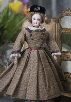 "12 1/2"" Very Beautiful Antique French Fashion Jumeau doll in original costume, size 0"