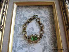 VIntage Peridot Rhinestone Repurposed Pendant by WinterPearls, $38.00